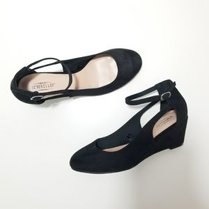 Seychelles Black Ankle Strap Cut Out Wedge Heels